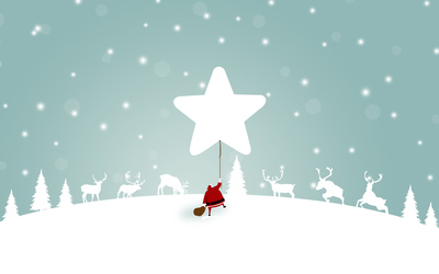Santa Claus with a star shaped balloon wallpaper