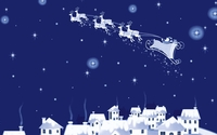 Santa flying above the city wallpaper 1920x1080 jpg