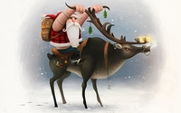 Santa on is reindeer bike wallpaper 1920x1080 jpg