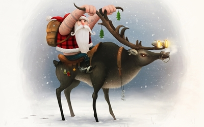 Santa on is reindeer bike wallpaper