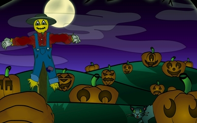 Scarecrow in the pumpkin patch wallpaper