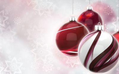 Shiny baubles by the pale snowflakes wallpaper