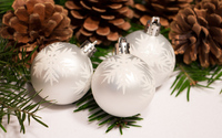 Silver baubles and cones wallpaper 3840x2160 jpg