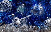 Silver baubles on blue ribbon wallpaper 1920x1200 jpg