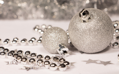 Silver Christmas ornaments wallpaper