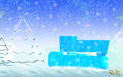 Blue ice Merry Christmas wallpaper