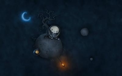 Skeleton astronaut on a Halloween planet wallpaper