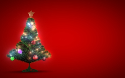 Small glowing Christmas tree wallpaper