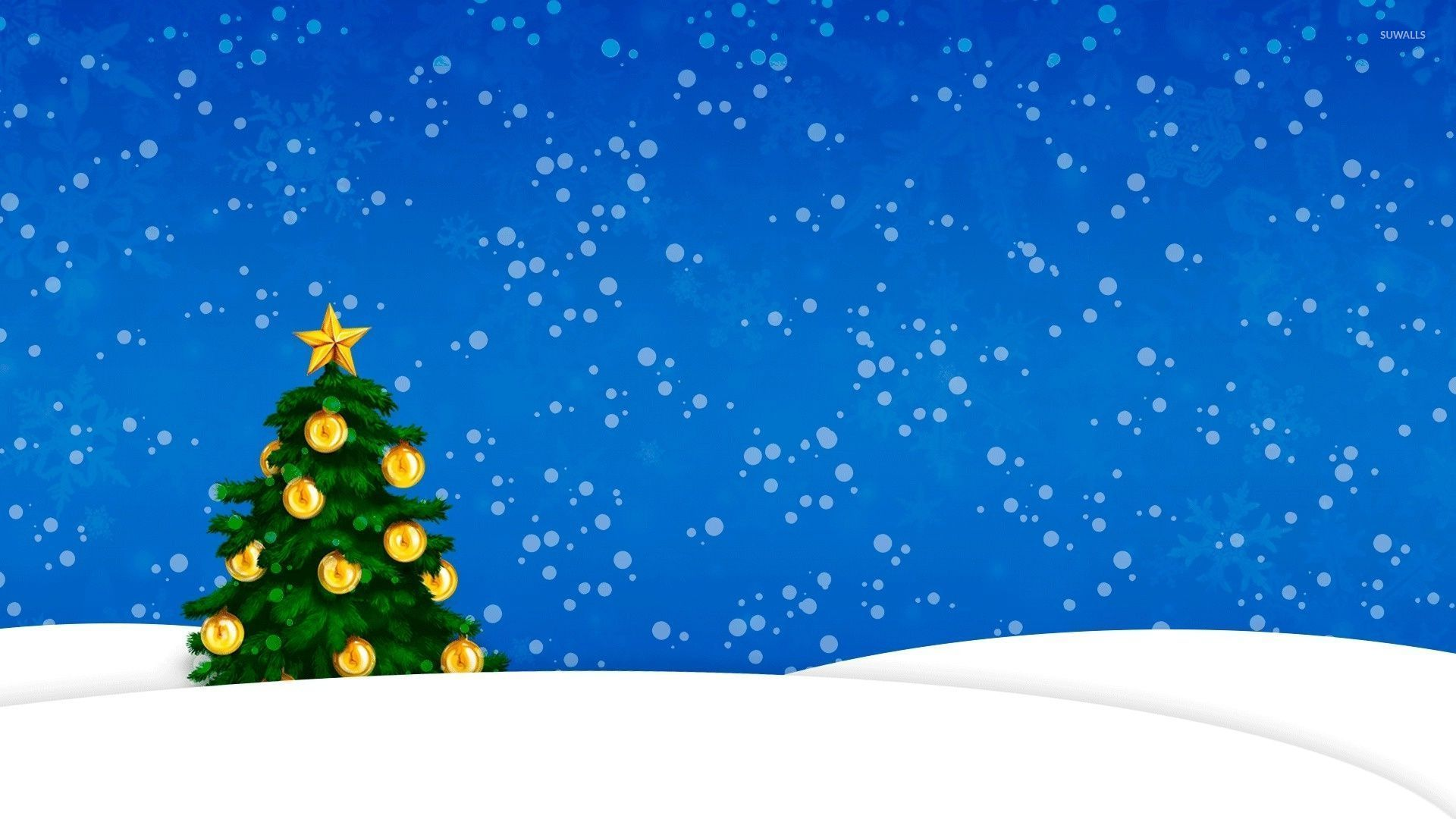 Snow Falling On The Golden Christmas Tree Wallpaper