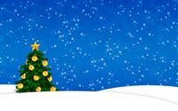 Snow falling on the golden Christmas tree wallpaper 1920x1080 jpg