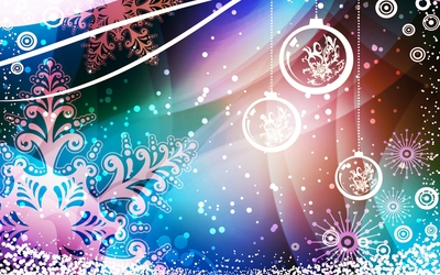 Snowflakes and baubles decorating the Christmas Eve wallpaper
