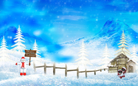Snowman holding a Happy Holidays sign wallpaper 1920x1200 jpg