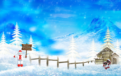 Snowman holding a Happy Holidays sign wallpaper