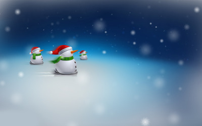 Snowmen on skis wallpaper
