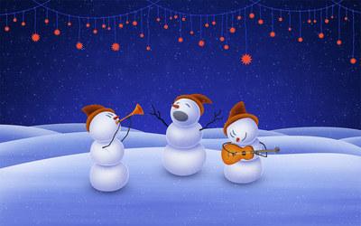 Snowmen singing wallpaper