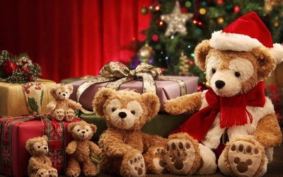 Teddy bears by the Chhristmas gifts wallpaper