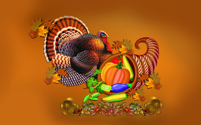 Thanksgiving turkey and cornucopia wallpaper