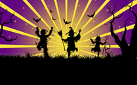 Trick-or-treater silhouettes wallpaper 3840x2160 jpg