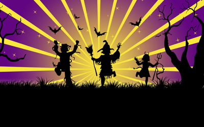 Trick-or-treater silhouettes wallpaper