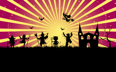 Trick-or-treater silhouettes by the castle wallpaper