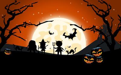 Trick-or-treaters wallpaper