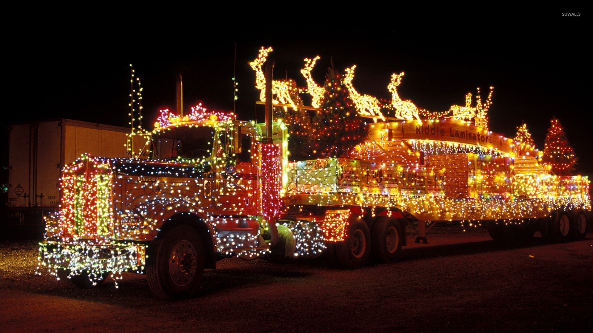 Merry Christmas Wall Lights : Truck with Christmas lights wallpaper - Holiday wallpapers - #51003
