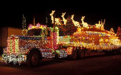 Truck with Christmas lights wallpaper
