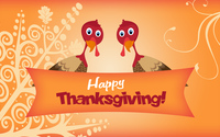 Two turkeys wishing you Happy Thanksgiving wallpaper 3840x2160 jpg