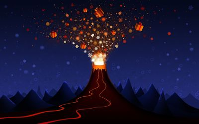 Volcano erupting with gifts wallpaper