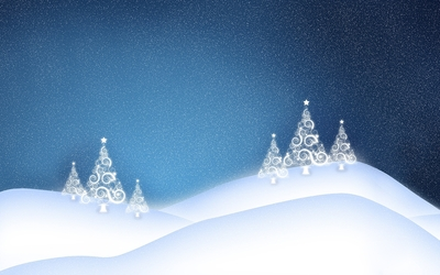 White glowing Christmas tree on the snowy hills wallpaper