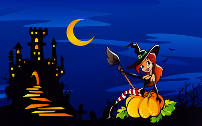 Witch by a haunted castle wallpaper