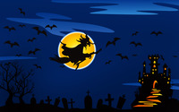 Witch flying over the haunted castle wallpaper 1920x1200 jpg