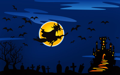 Witch flying over the haunted castle wallpaper
