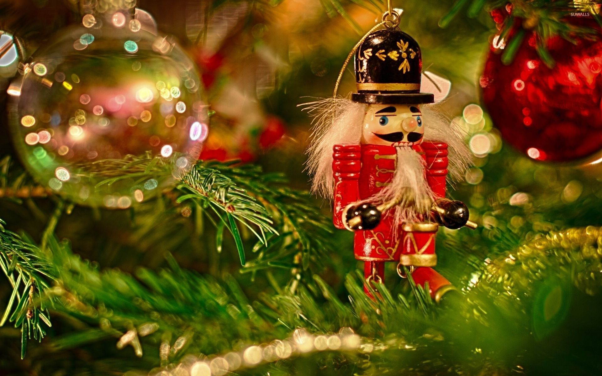 wooden soldier in the christmas tree wallpaper - holiday wallpapers