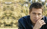 Brad Pitt in a dark blue leather jacket wallpaper 1920x1200 jpg