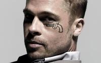 Brad Pitt with a pistol drawn under his eye wallpaper 1920x1080 jpg