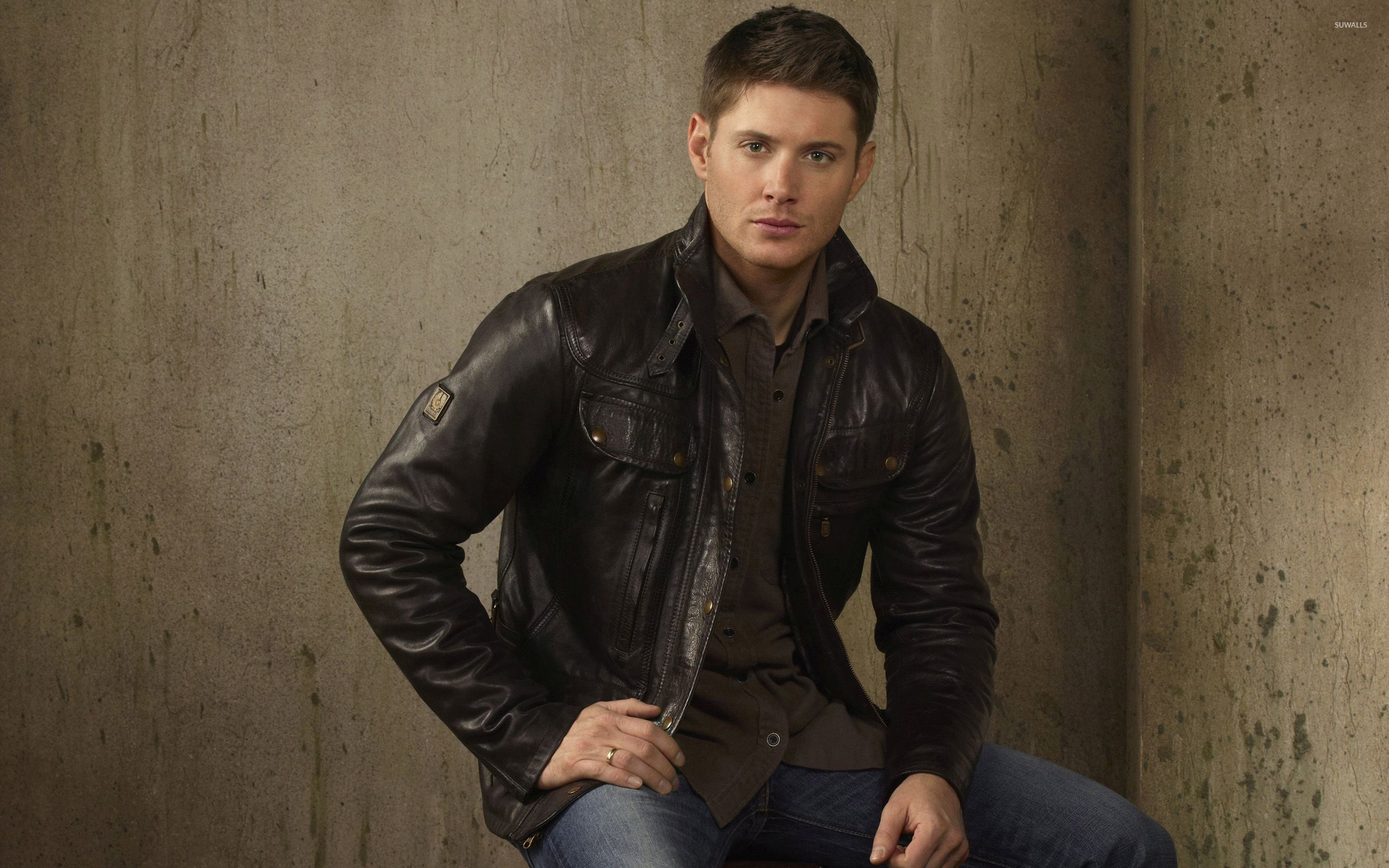 Jensen Ackles With A Leather Jacket Wallpaper
