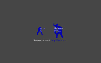 Ninjas can't catch you if they bluescreen wallpaper