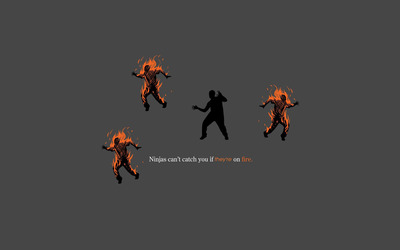 Ninjas can't catch you if they're on fire wallpaper