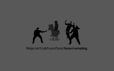 Ninjas can't catch you if your horse is amazing wallpaper