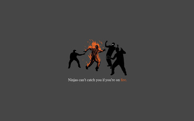 Ninjas can't catch you if you're on fire wallpaper