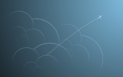 Airplane through the clouds wallpaper