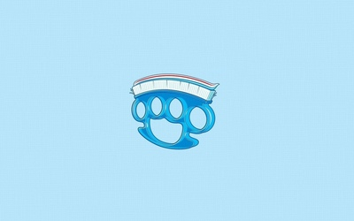 Brass knuckles tooth brush wallpaper