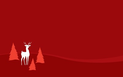 Deer between pine trees wallpaper
