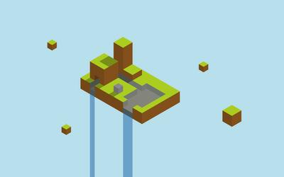 Floating Minecraft waterfall Wallpaper