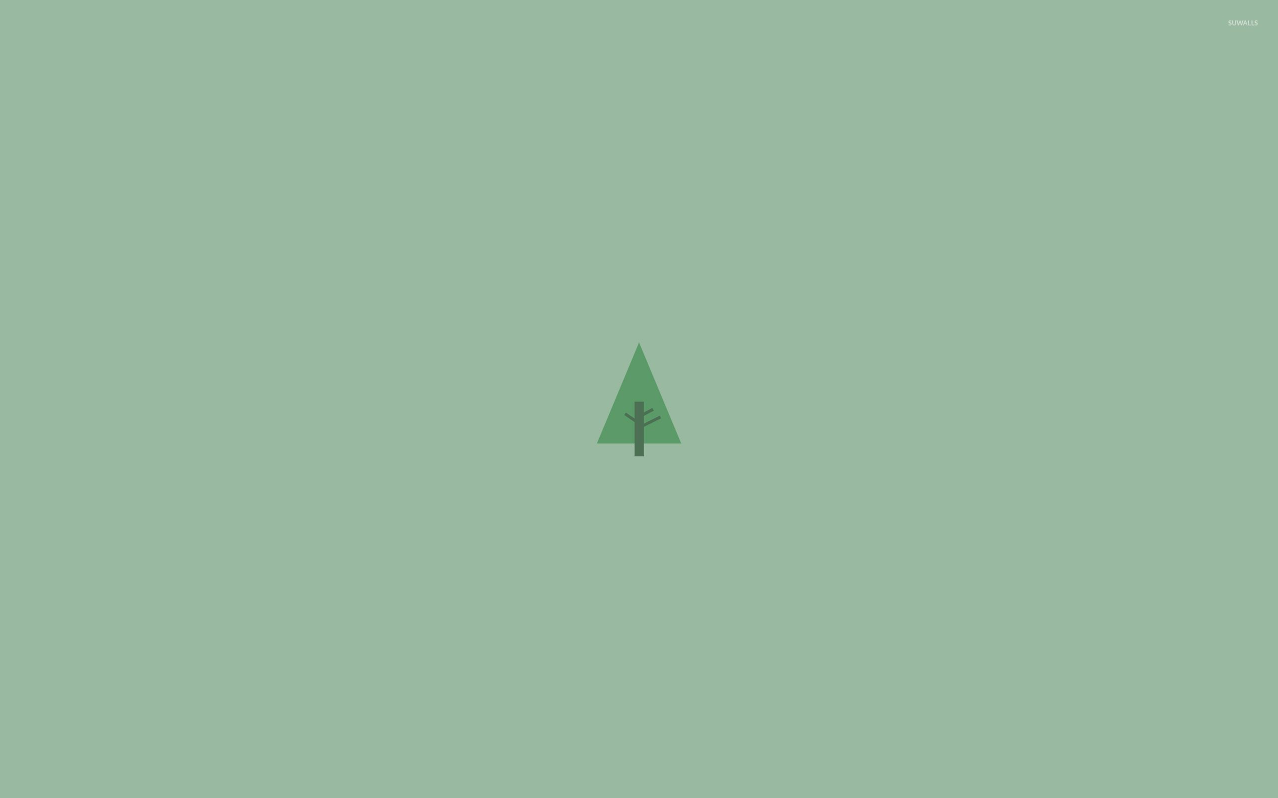 Photo Collection Minimalistic Green Tree Wallpapers