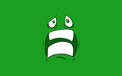 Scared green face with green eyes Wallpaper
