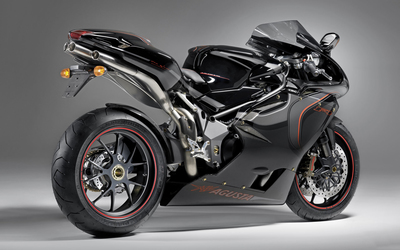 Back side view of a MV Agusta F4 series motorcycle wallpaper
