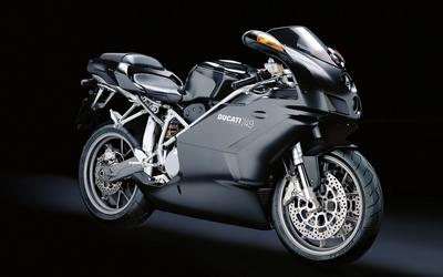 Black Ducati 749 side view wallpaper