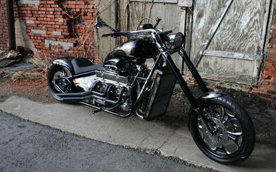 Black Harley-Davidson chopper wallpaper